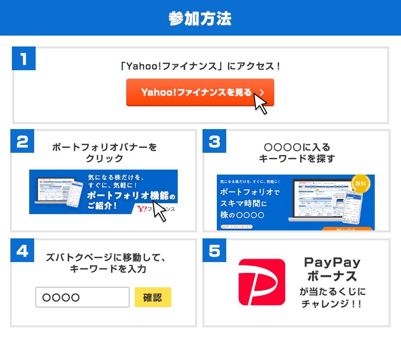 参加方法 1、「Yahoo!ファイナンス」にアクセス! 2、ポートフォリオバナーをクリック 3、○○○○に入るキーワードを探す 4、ズバトクページに移動して、キーワードを入力 5、PayPayボーナスが当たるくじにチャレンジ!
