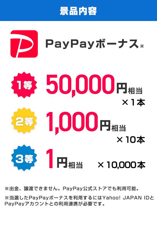 景品内容 PayPayボーナス 1等50,000円相当1本、2等1,000円相当10本、3等1円相当10,000本 ※PayPayボーナスは譲渡できません。PayPay公式ストアでも利用可能。※当選したPayPayボーナスを利用するにはYahoo! JAPAN IDとPayPayアカウントの連携が必要です。
