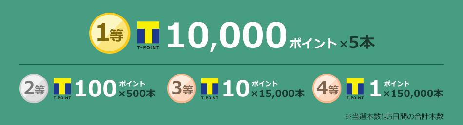 1等 Tポイント10,000ポイント×5本 2等 Tポイント100ポイント×500本 3等 Tポイント10ポイント×15,000本 4等 Tポイント1ポイント×150,000本 ※当選本数は5日間の合計本数