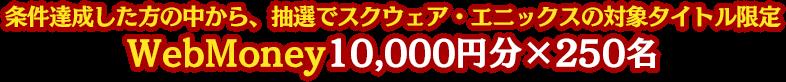 条件達成した方の中から、抽選でスクウェア・エニックスの対象タイトル限定WebMoney10,000円分×250名