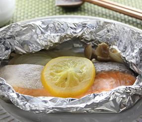 鮭と塩レモンのホイル焼き