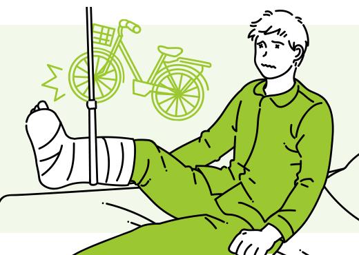 自転車で走行中に転倒し骨折…