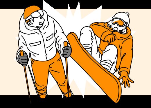 スノーボードで他人とぶつかってしまった…