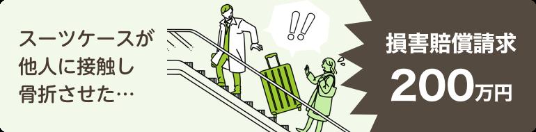 スーツケースが他人に接触し骨折…損害賠償請求200万円