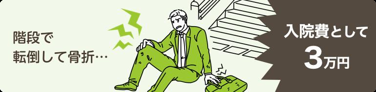 階段で転倒して骨折…入院費として3万円