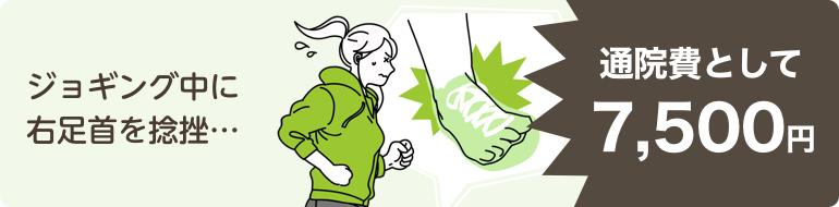 ジョギング中に右足首を捻挫…通院費として7,500円