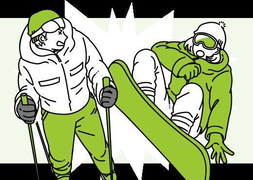 スノボーで滑走中にあやまってスキーヤーに接触…
