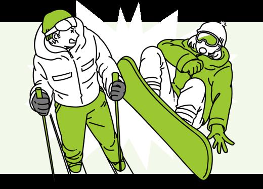 スノーボードで他人とぶつかった…