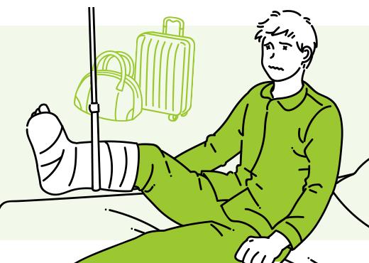 旅行中にはしゃぎすぎて転倒してしまい、足を骨折…