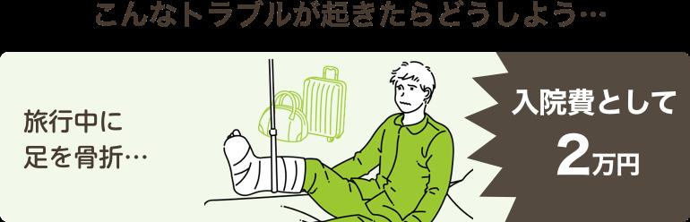 こんなトラブルが起きたらどうしよう…旅行中に足を骨折…入院費として2万円