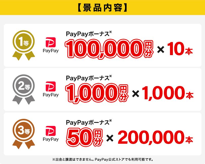 賞品内容 1等 PayPayボーナス※ 100,000円分 ×10本 2等 PayPayボーナス※ 1,000円分 ×1000本 3等 PayPayボーナス※ 100円分 ×200,000本 ※出金・譲渡はできません。PayPay公式ストアでも利用可能です。