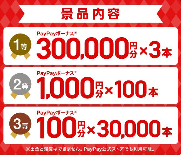 賞品内容 1等 PayPayボーナス※ 300,000円分×3本 2等 PayPayボーナス※ 1,000円分×100本 3等 PayPayボーナス※ 100円分×30,000本 ※出金と譲渡はできません。PayPay公式ストアでも利用可能。