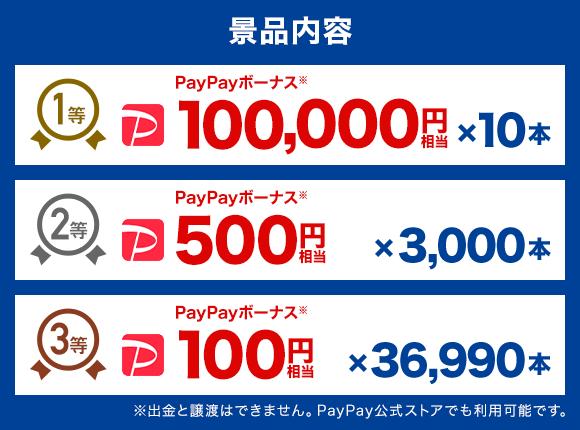 景品内容 1等 PayPayボーナス※ 100,000円相当 ×10本 2等 PayPayボーナス※ 500円相当 ×3000本 3等 PayPayボーナス※ 100円相当 ×36,990本 ※出金と譲渡はできません。PayPay公式ストアでも利用可能です。