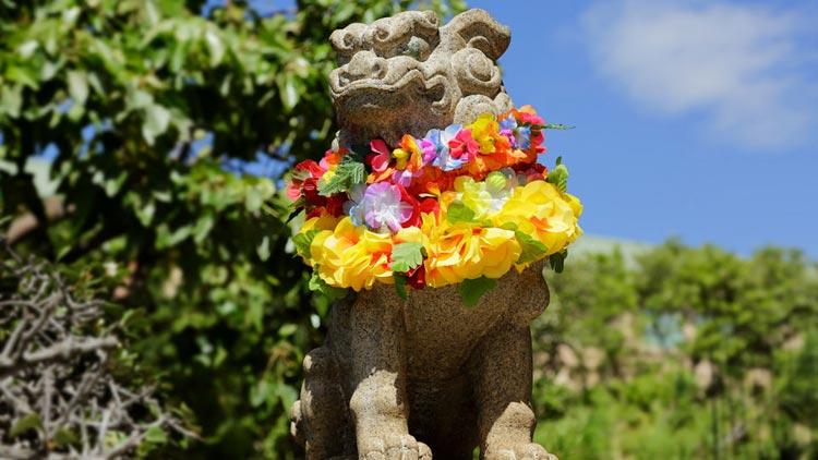 首にレイのかけられた狛犬がハワイを感じさせる