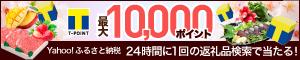 最大10,000ポイント Yahoo!ふるさと納税 24時間に1回の返礼品検索で当たる!