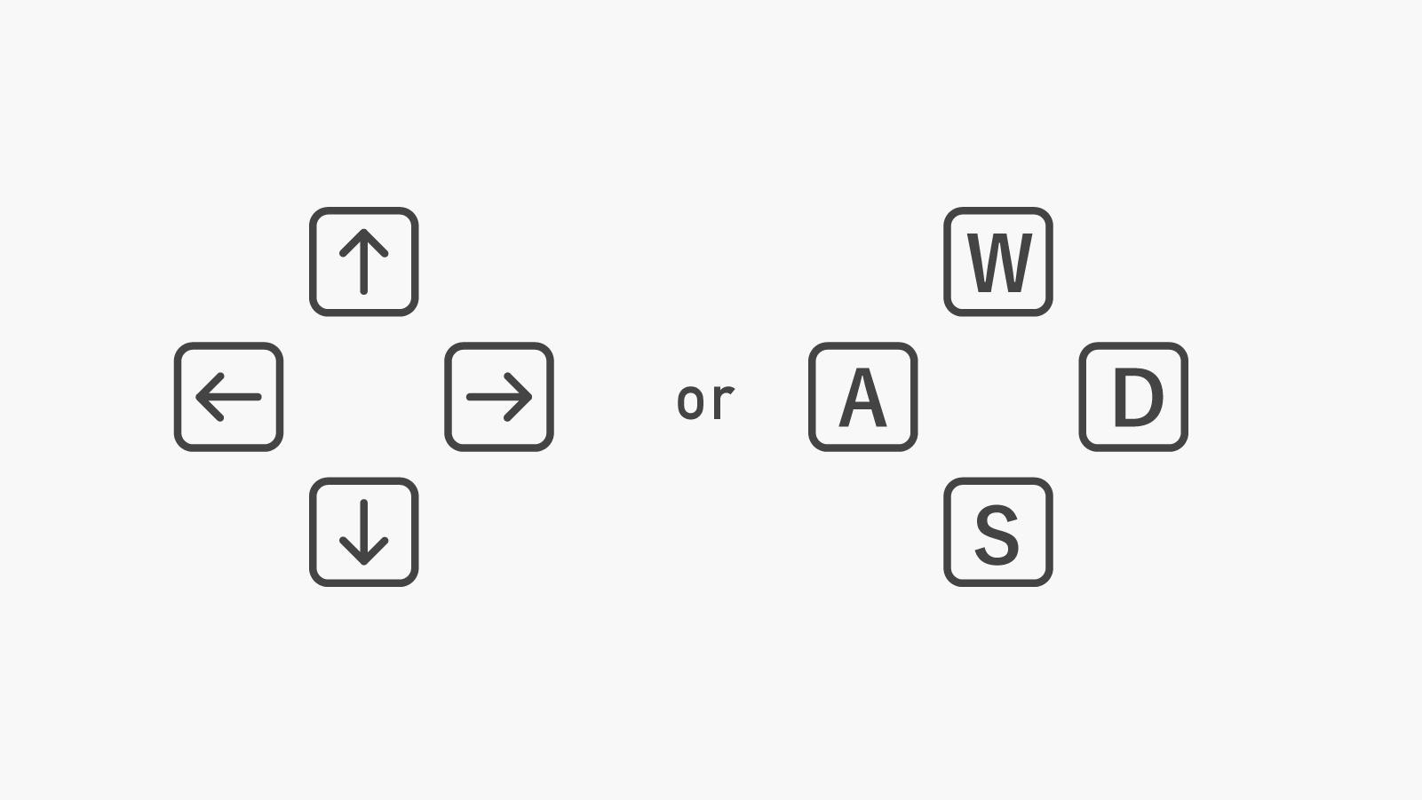 カーソルキー上下右左、もしくはWキー:前方、Sキー:後方、Dキー:右、Aキー:左