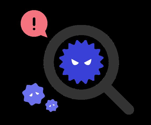 ウイルスを検知するイラスト