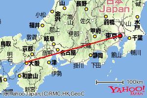 ポリラインを追加した地図