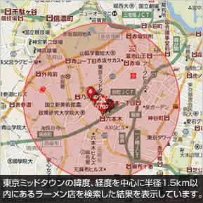 東京ミッドタウンの緯度、経度を中心に半径1.5km以内にあるラーメン店を検索した結果を表示しています。