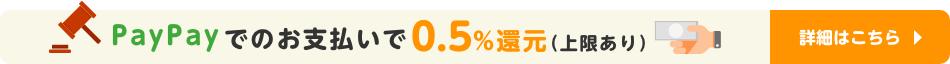 PayPay残高払いで0.5%還元(上限あり) 詳細はこちら