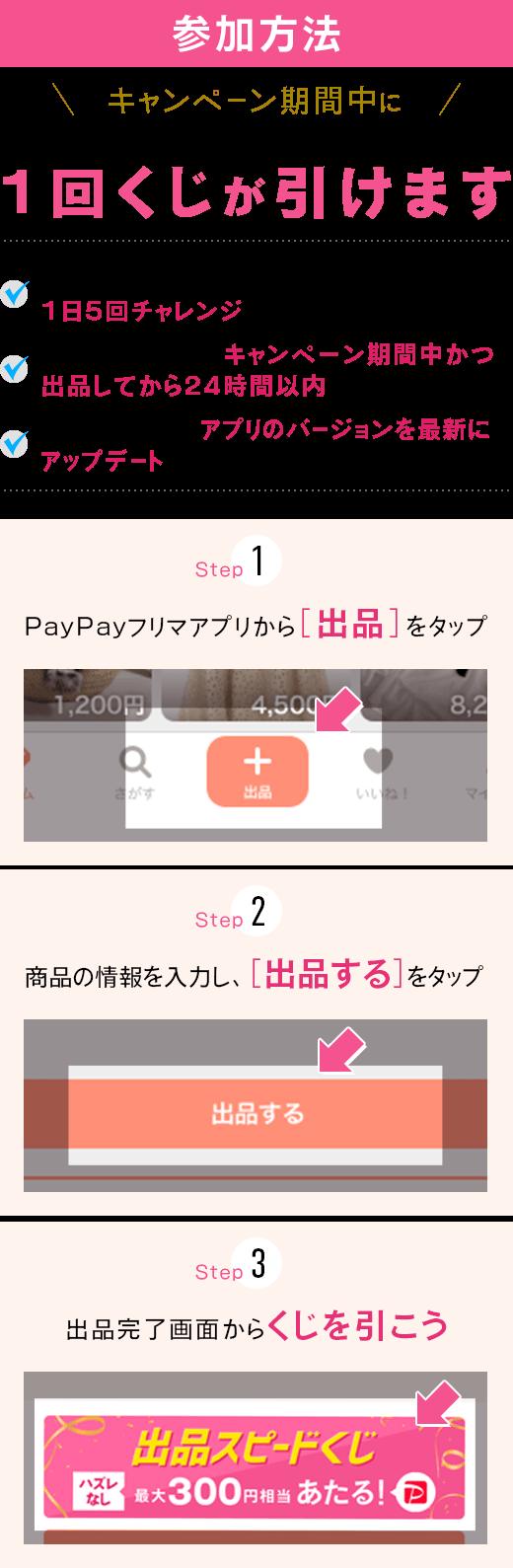 PayPayフリマで出品するたびに、くじが引けます