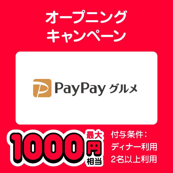 オープニングキャンペーン PayPayグルメ 最大1000円相当 付与条件:ディナー利用 2名以上利用