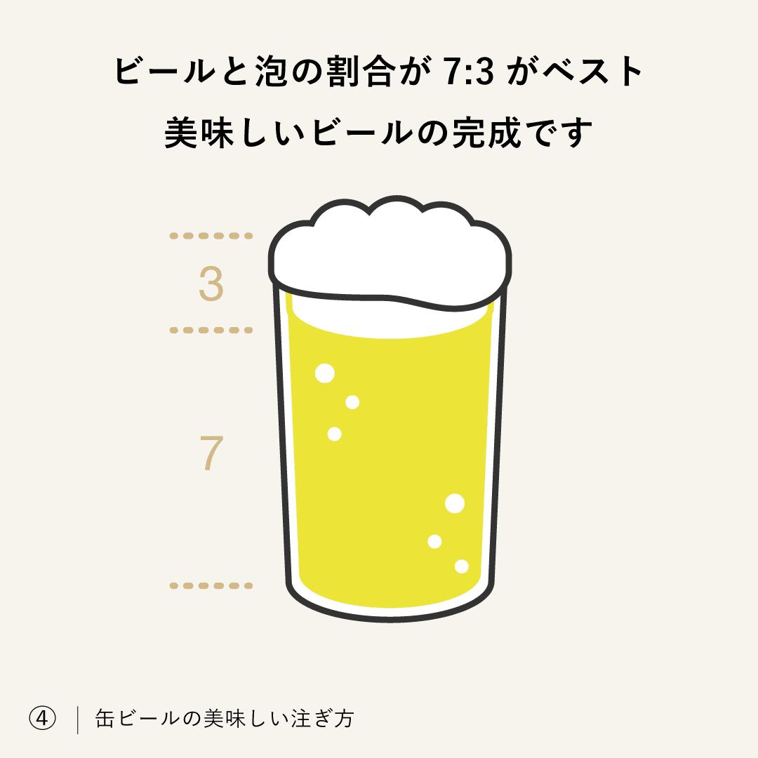 ビールと泡の割合が7:3がベスト、美味しいビールの完成です