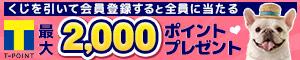 くじを引いて会員登録すると全員に当たる Tポイント最大2,000ポイントプレゼント
