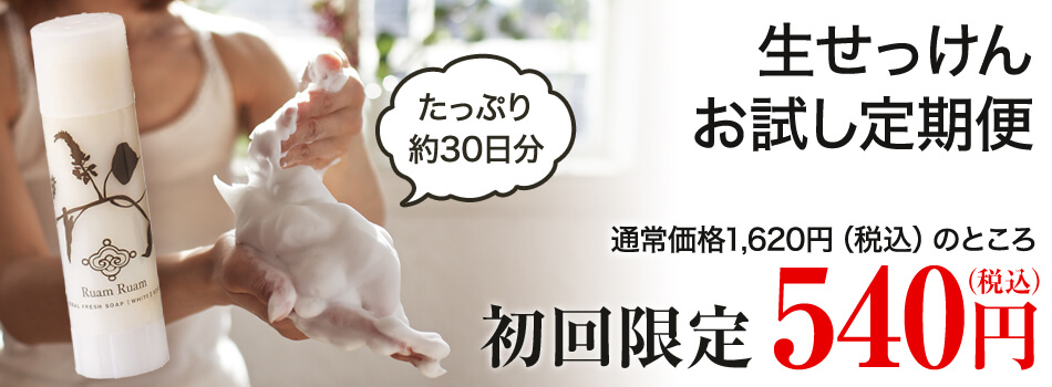 これが噂の生せっけん。もちもちの濃密泡洗顔で正しいくすみケアを。初回限定540円!
