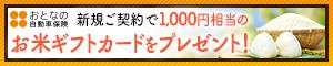 おとなの自動車保険 新規ご契約で1,000円相当のお米ギフトカードをプレゼント!