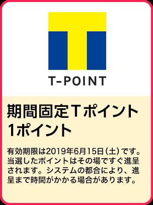 期間固定Tポイント1ポイント/期間:2019年4月1日~4月24日