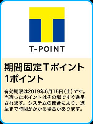 期間固定Tポイント1ポイント/期間:2019年4月25日~5月31日
