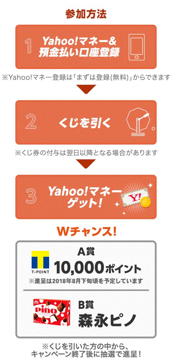 参加方法 1.Yahoo!マネー&預金払い口座登録※Yahoo!マネー登録は「まずは登録(無料)」からできます 2.くじを引く※くじ権の付与は翌日以降となる場合があります 3.Yahoo!マネーゲット! Wチャンス! A賞10,000ポイント※贈呈は2018年8月下旬を予定しています B賞森永ピノ ※くじを引いた方の中から、キャンペーン終了後に抽選で進呈!(8月下旬予定)