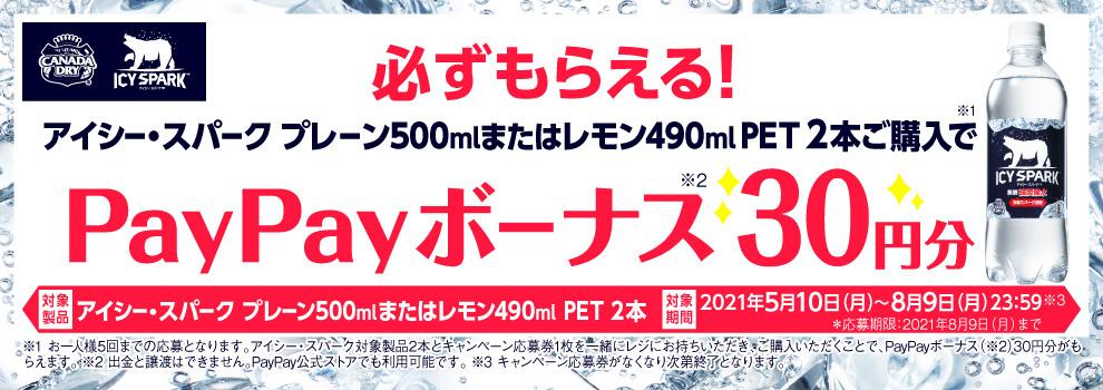 対象商品を購入するたびにPayPayボーナス30円分が必ずもらえる!