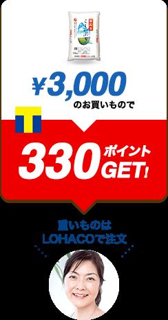 ¥3,000のお買いもので330ポイントGET!