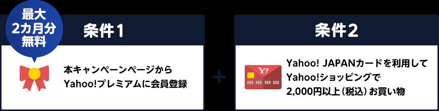 条件1 本キャンペーンページから最大2カ月分無料でYahoo!プレミアムに会員登録 条件2 Yahoo! JAPANカードを利用して、Yahoo!ショッピングで2,000円以上(税込)お買い物