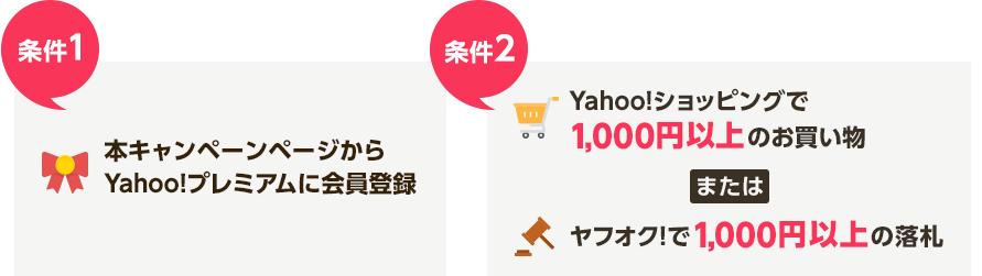 【条件1】本キャンペーンページからYahoo!プレミアムに会員登録【条件2】Yahoo!ショッピングで1,000円以上のお買い物、またはヤフオク!で1,000円以上の落札