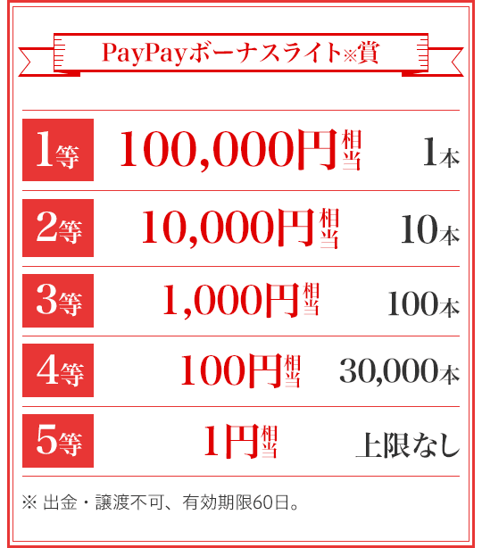 PayPayボーナスライト賞 1等 100,000円相当 1本 2等 10,000円相当 10本 3等 1,000円相当 100本 4等 100円相当 30,000本 5等 1円相当 上限なし