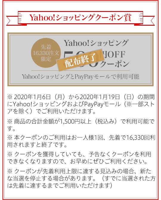 Yahoo!ショッピングクーポン賞 先着16,330注文限定 Yahoo!ショッピング500円OFFクーポン