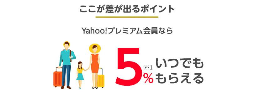 ここで差が出るポイント Yahoo!プレミアム会員ならいつでも5%もらえる!