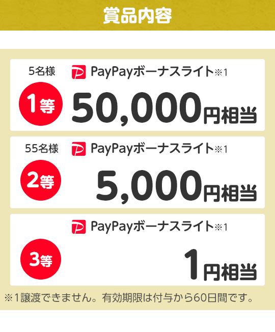 賞品内容 1等 PayPayボーナスライト※1 50,000ポイント 5名様 2等PayPayボーナスライト※1 5,000円 55名様 相当3等 PayPayボーナスライト※1 1円相当  ※1出金と譲渡はできません。有効期限は付与日から60日です。