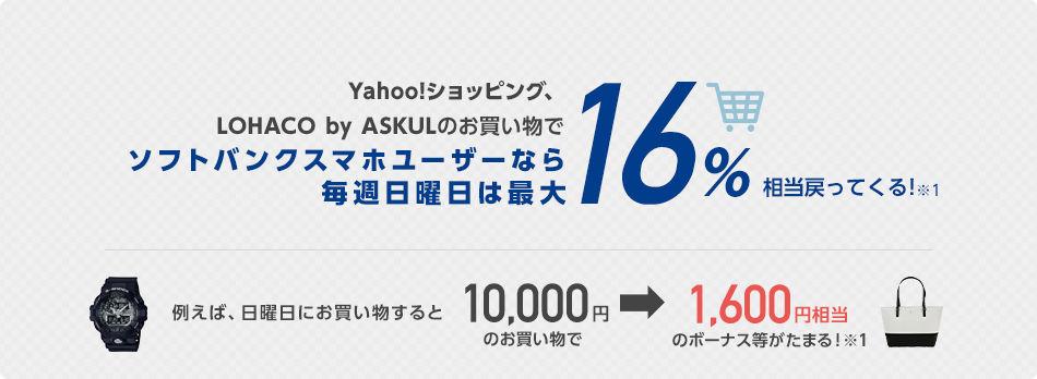Yahoo!ショッピング、LOHACO by ASKULのお買いものでソフトバンクスマホユーザーなら毎週日曜日は最大16%相当戻ってくる!
