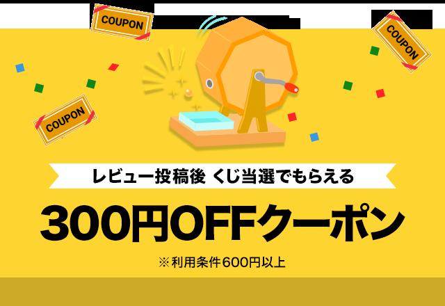 レビュー投稿後くじ当選したら全商品使える300円OFFクーポン