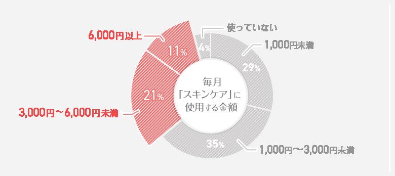 毎月「スキンケア」に使用する金額 円グラフ