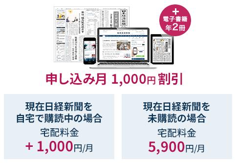 電子版部分 1,000円が5月末まで無料 月額税込 5,900円