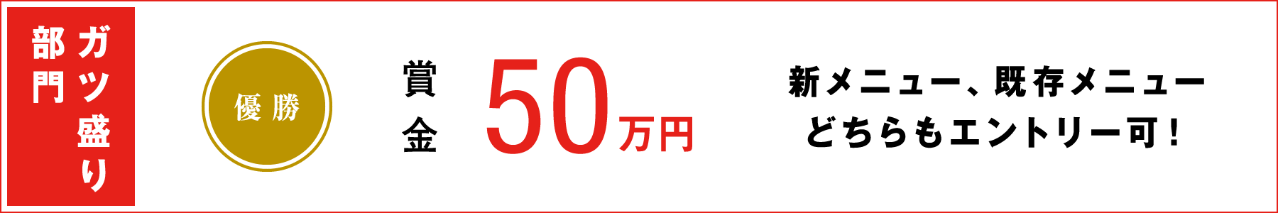 ガツ盛り部門 優勝賞金50万円(新メニュー、既存メニューどちらもエントリー可!)