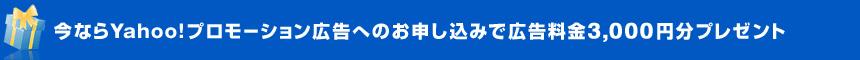 今ならYahoo!プロモーション広告へのお申し込みで広告料金3,000円分プレゼント