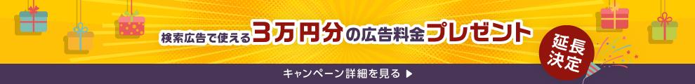 早い者勝ち!上限に達したら終了 検索広告で使える3万円分の広告料金プレゼント キャンペーン詳細を見る