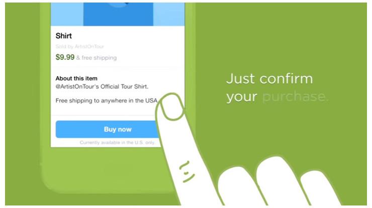 Twitterでは、ツイート画面の下方に購入ボタンを設置している。