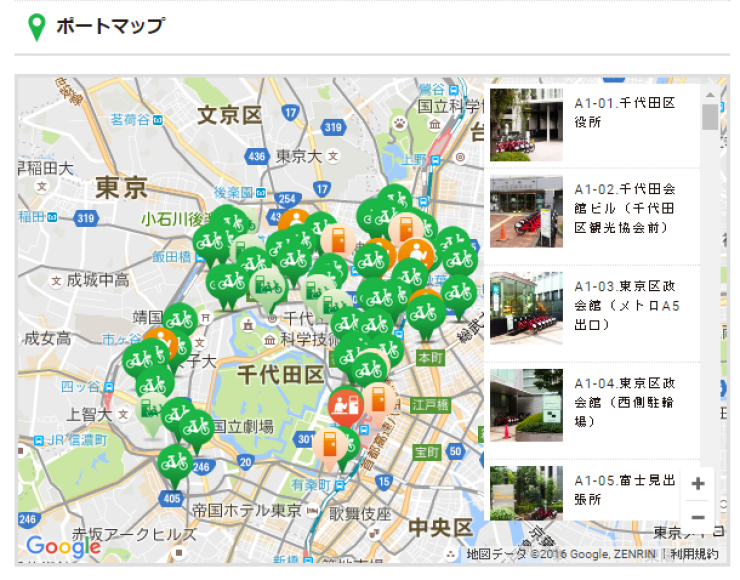 サイクルポートの検索サービスをあらわす図